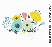 colorful vector set of floral...   Shutterstock .eps vector #1049240507