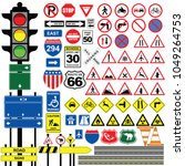traffic signs isolated on a... | Shutterstock .eps vector #1049264753