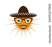 smiling sun in a mexican hat. | Shutterstock . vector #1049267003