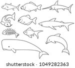 fish thin line icons set ... | Shutterstock .eps vector #1049282363