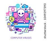 concept of virus  piracy ... | Shutterstock .eps vector #1049297393