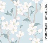 blooming tree. seamless pattern ... | Shutterstock .eps vector #1049312507