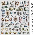 colorful vector hand drawn set...   Shutterstock .eps vector #1049315453