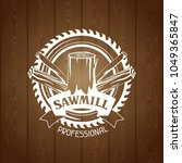 woodworks label with wood logs...   Shutterstock .eps vector #1049365847