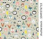 cartoon cute animal tribal... | Shutterstock .eps vector #1049376713