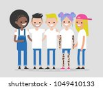 group of young modern people... | Shutterstock .eps vector #1049410133