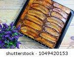 banana upside down cake   Shutterstock . vector #1049420153