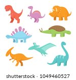 cartoon set of funny dinosaurs. ... | Shutterstock .eps vector #1049460527