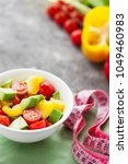 healthy vegetable salad of... | Shutterstock . vector #1049460983