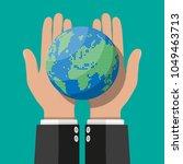 world map silhouette. globe in...   Shutterstock .eps vector #1049463713