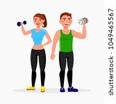 fitness couple isolated on... | Shutterstock .eps vector #1049465567