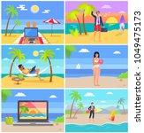distant work people at seaside  ...   Shutterstock .eps vector #1049475173