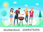 bbq party time  summer meadow ... | Shutterstock .eps vector #1049475293