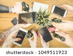 students group having addicted... | Shutterstock . vector #1049511923