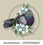 vector dove and flowers art | Shutterstock .eps vector #1049534603