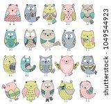 set of cartoon owls with... | Shutterstock .eps vector #1049544923