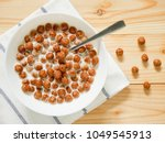 chocolate cereal balls with... | Shutterstock . vector #1049545913