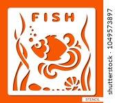 stencil for children. fish ... | Shutterstock .eps vector #1049573897