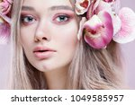 beautiful girl  isolated on a... | Shutterstock . vector #1049585957