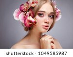 beautiful girl  isolated on a... | Shutterstock . vector #1049585987