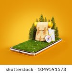 touristic backpack with map and ... | Shutterstock . vector #1049591573