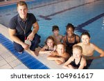 children having swimming lesson | Shutterstock . vector #104961617