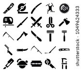 blade icons. set of 25 editable ... | Shutterstock .eps vector #1049624333