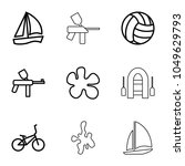 recreational icons. set of 9... | Shutterstock .eps vector #1049629793