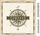 vintage compass label. editable ... | Shutterstock .eps vector #1049633843