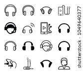 headset icons. set of 16... | Shutterstock .eps vector #1049640377
