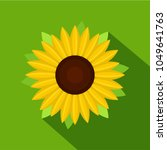 nice sunflower icon. flat... | Shutterstock .eps vector #1049641763