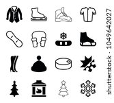 winter icons. set of 16... | Shutterstock .eps vector #1049642027