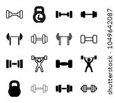 barbell icons. set of 16... | Shutterstock .eps vector #1049642087
