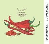 chilli pepper  a piece of hot... | Shutterstock .eps vector #1049650283