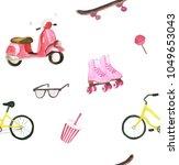 watercolor summer fun set | Shutterstock . vector #1049653043