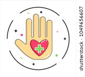 Human Palm Logo With Red Heart...