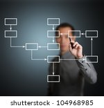 business man writing strategy flowchart - stock photo