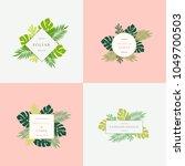 set of monstera tropical leaves ...   Shutterstock .eps vector #1049700503