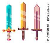 fantasy swords. flat design...