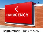 red emergency entrance sign for ... | Shutterstock . vector #1049745647