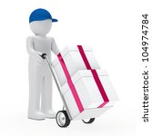 figure supplier push hand truck with gifts - stock photo