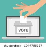 voting online concept. woman's...   Shutterstock .eps vector #1049755337