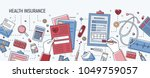 horizontal banner with hands... | Shutterstock .eps vector #1049759057