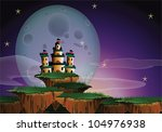 Fantasy landscape of a big castle on floating island and a gigantic moon - stock vector