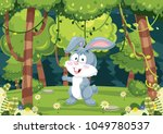 Stock vector vector illustration of cartoon rabbit 1049780537