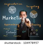 business man writing marketing process concept ( segmentation - targeting - positioning - approaching ) - stock photo
