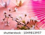 Small photo of Folding fan, folding cranes and Sakura