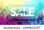 spring sale banner. paper cut... | Shutterstock .eps vector #1049823197