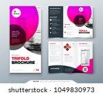 tri fold brochure design. pink... | Shutterstock .eps vector #1049830973