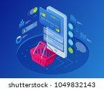 isometric smart phone online...   Shutterstock .eps vector #1049832143